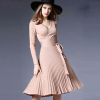 Fashion Womens Sexy Slim Long Sleeve V-neck Pleated Knitted Dress Party Big-wing