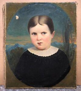 Tableau Ancien Huile Portrait Ovale Enfant Col Blanc Fond Paysage Montagne XIXe