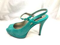 White House Black Market Tami womens turquoise blue peep toe 10M shoes heels