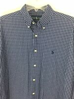 RALPH LAUREN Mens Long Sleeve Blake Shirt Button Down Size Med Blue Check Plaid