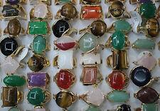 Bulk Mix Lots 25pcs Big nature stone Multicolor Gold Band Classic Top Rings