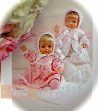 Vintage Knitting Pattern Dolls Pram Set & Blanket. Clothes To Fit 12-22in. Doll