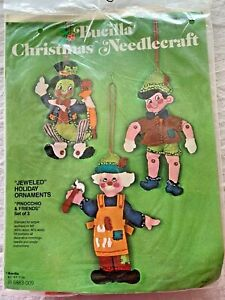 Vtg 1977 Bucilla Christmas Ornament Jeweled PINOCCHIO Kit Set of 3 Felt Jiminy