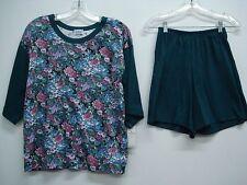 Nancy King Lingerie 2 Piece Pajama Shorts & Top Set Size S Dark Teal Multi #624N