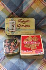 Lotto tre scatole latta Elah Genova, Lazzaroni, biscotti al plasmon vintage