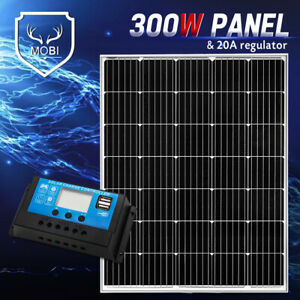 300W Solar Panel Mono Cell With 20A 12V 24V PWM Regulator Dual USB Fixed Panel