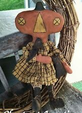 Primitive Pattern Prue Pumpkin Aprimitive Pumpkin Girl With Crow  #CJ