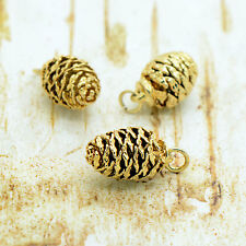 REAL Mini Pine Cone Pendant Dipped in 24k Gold - Plated Natural Charm