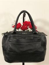 Furla Pebbled Black Leather Double Handles Hobo Hand Carry Bag