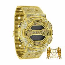14K Gold Canary Rainbow Icy Designer G Shock Custom Band Digital Watch GD100 New