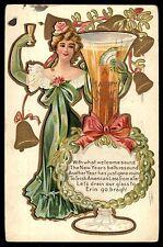 Antique Erin go bragh Ireland New Years day toast ser postcard
