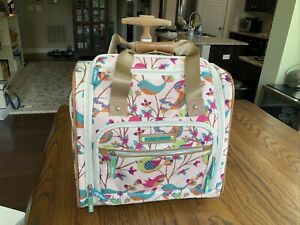 Lily Bloom Design Bird Pattern Carry on Bag Wheeled Cabin Tote (Pink Int) Nice