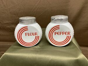 Vintage Fire King Vitrock Red Circle Art Deco Range Pepper & Flour Shakers