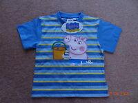BNWT PEPPA/GEORGE PIG Boys Summer T-Shirt 1-6yr Sun Top Holiday Surf Blue Stripe