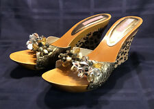 Cute Leopard and Gold Betsey Johnson High Heel Wedge Mules — Size 9.5 (estimate)