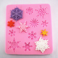 3D Christmas Snowflake Silicone Molds Fondant Cookie Moulds Candy Cake Decor YK