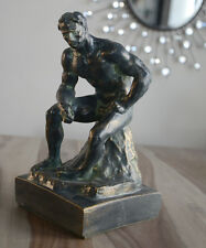"""Athlete by Rodin 12.5"""" French Museum Sculpture Replica Reproduction"""