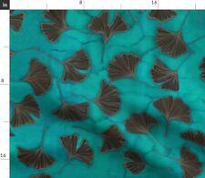 Botanical Batik Teal Watercolor Japanese Fabric Printed by Spoonflower BTY