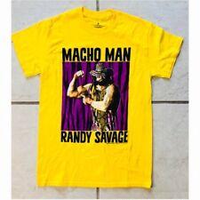 WWF WWE Mens Yellow MACHO MAN RANDY SAVAGE Retro Wrestling T-SHIRT Size Small