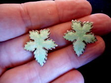 Guilloche Enamel Clip Earrings (Eb4) Scarce Pair Green Sterling Silver Vintage