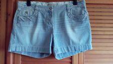 M&S Indigo Ladies Blue & White Striped Distressed Look Shorts, size 16