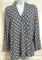 Talbots Women's V-Neck Faux Wrap Navy Top Blouse Size L Stretch 3/4 Sleeve Rayon