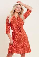 Womens Rust Spot Print Collar Wrap Belted Mini Dress