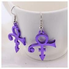 Prince Symbol Dangle Earrings, Purple, Silver or Gold