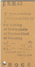 ANCIENNE BILLET TRAIN MUNICH Hbf - aubing de 1966 (g4354)