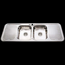 Drop In Topmount Stainless Steel Double Bowl Drainer Kitchen Sink 1500x500
