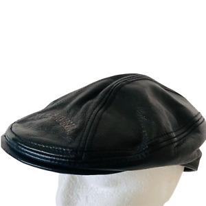 Harley Davidson Motorbike Flat Cap Hat Leather Black Embroidered Size XL 58cm