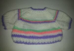 Purple pink green white striped Large Knit Teddy Bear or doll  Sweater Clothing