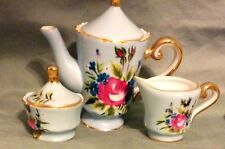 "10 PIECE BLUE  CHILDS SIZE TEA SET NEW TEA  POT 4.5"" TALL"