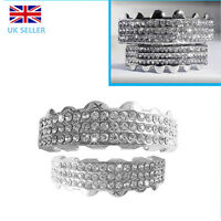Silver Grillz Plated Teeth Mouth Grills Top Bottom Double Bar Diamante Diamond