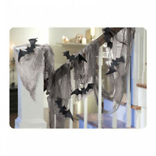 Halloween Party Black Gauze Gothic Cloth Draping Bats Stair Decoration 15ft