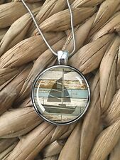Sailboat Beach Wood Ocean Life Beach Island Pendant Silver Chain Necklace NEW