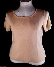 Womens Beige Short Sleeve Sweater Knit Top Van Heusen Size L Cotton Blend