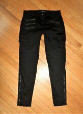J BRAND BRIX Mid Rise Skinny Leg Cargo Zipper Jeans In Jett Black 29 VGUC