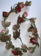 Rose Garland, Six Feet Long. Polyester Silk Screen. Red, Multicolor