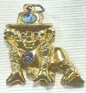 Willy Koala Australia Sydney Olympics Mascot Opal Gold Metal Charm Pendant Rare!