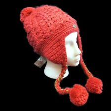 Quiksilver Rolling In Beanie Kint Hat Earflaps Pom Poms Crimson Orange New