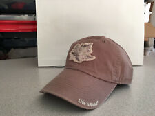 "Life Is Good Cap Hat Flower Oak Patch Stone Grey ""Buy 4 Get 1 Free"""
