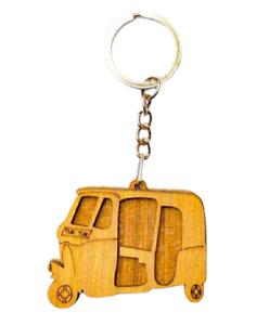 Keychain Three Wheel Key tag Wooden Handmade TUK TUK Key Ring Modern Best Keytag