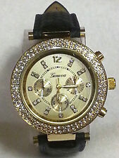 Geneva Rhinestone Gold Bezel MK Chrono Style Wrist Watch Faux Navy Snake Band