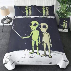 Alien Green Space Cartoon King Queen Twin Quilt Duvet Pillow Cover Bed Set