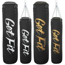 Get Fit 4/5ft Heavy Duty Kick Boxing Punching Hanging Bags MMA Gloves & Chains