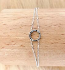ROUND BLACK NATURAL DIAMOND BRACELET TCW0.22 18k white gold chain circle bridal