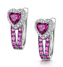 Rhodolite Sapphire Diamond Earrings White Gold Leverback Hoop Certificate
