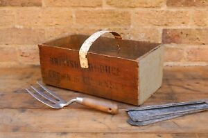 Genuine Vintage Old Wooden British Produce Crate Trug Box. Grown in Guernsey.