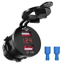 12V 4.2A Dual USB Charger Socket Voltage Voltmeter Car Boat Motorbike Round Red